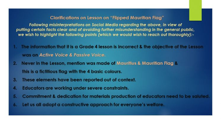 "Clarifications on Lesson on ""Flipped Mauritian Flag"""